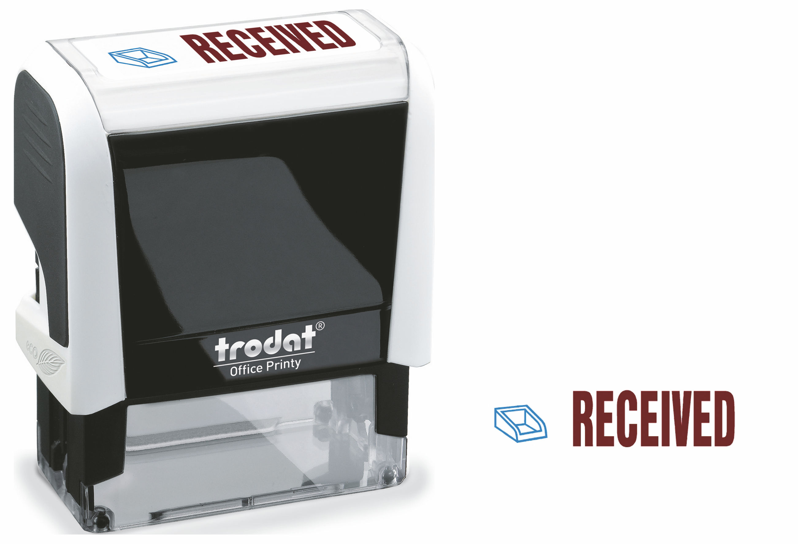 Stamps Trodat Office Printy 4912 Self Inking Word Stamp RECEIVED 46x18mm Blue/Red Ink