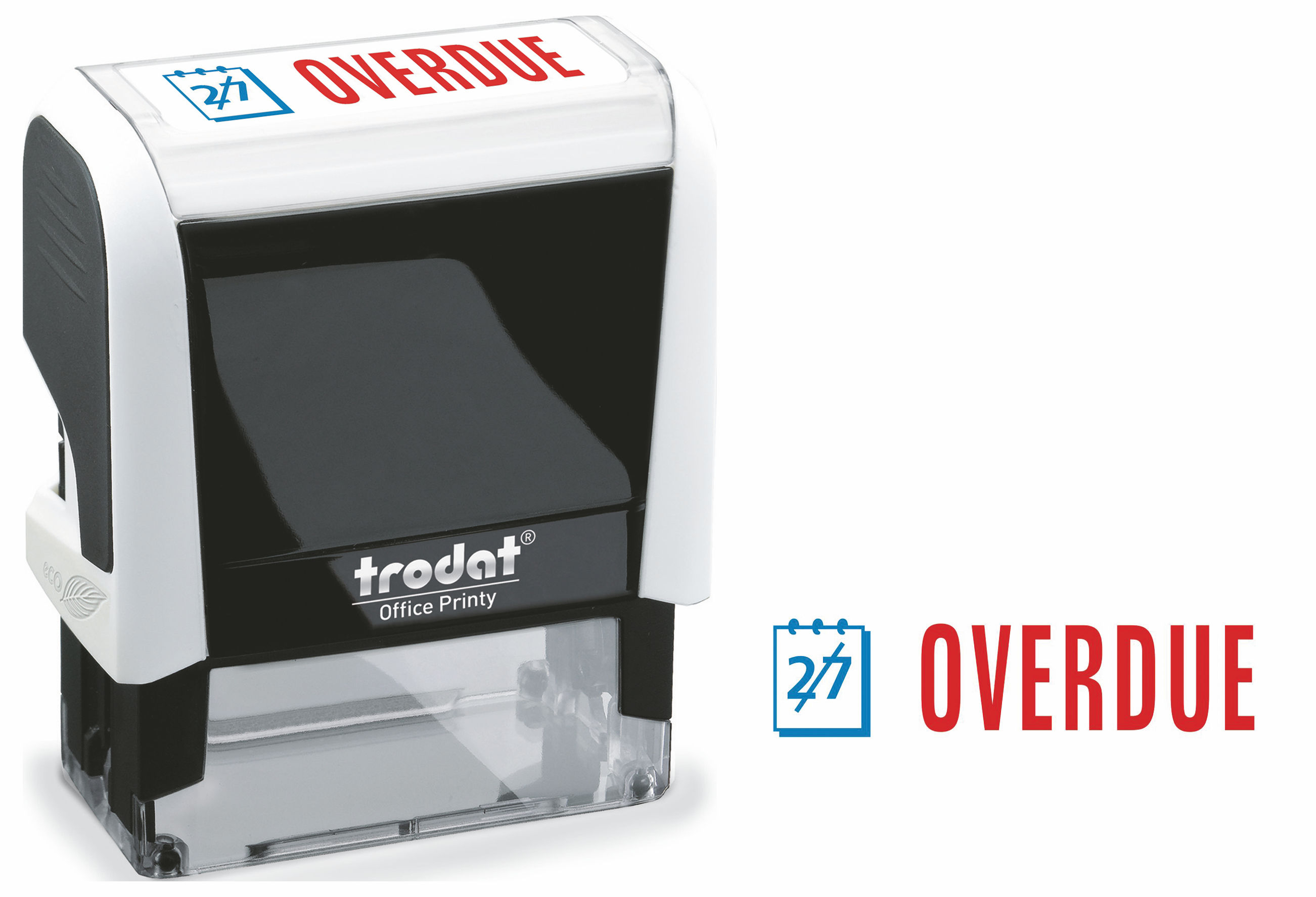 Stamps Trodat Office Printy 4912 Self Inking Word Stamp OVERDUE 46x18mm Blue/Red Ink