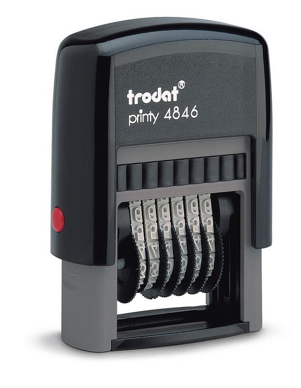Trodat Printy 4846 Numberer Stamp Plastic Self-inking 6-digit 24x4mm Ref 89376