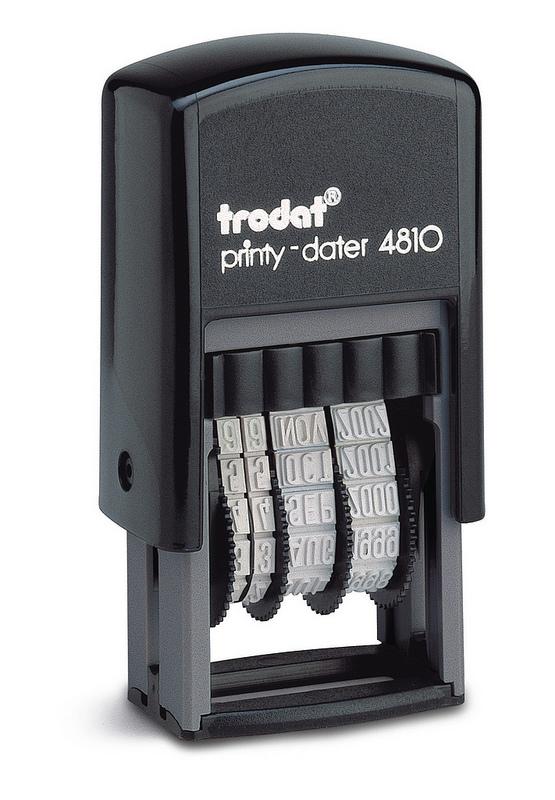 Trodat Printy 4810 Budget Mini Dater Stamp Self-inking 20x3.8mm Black Ref 70169