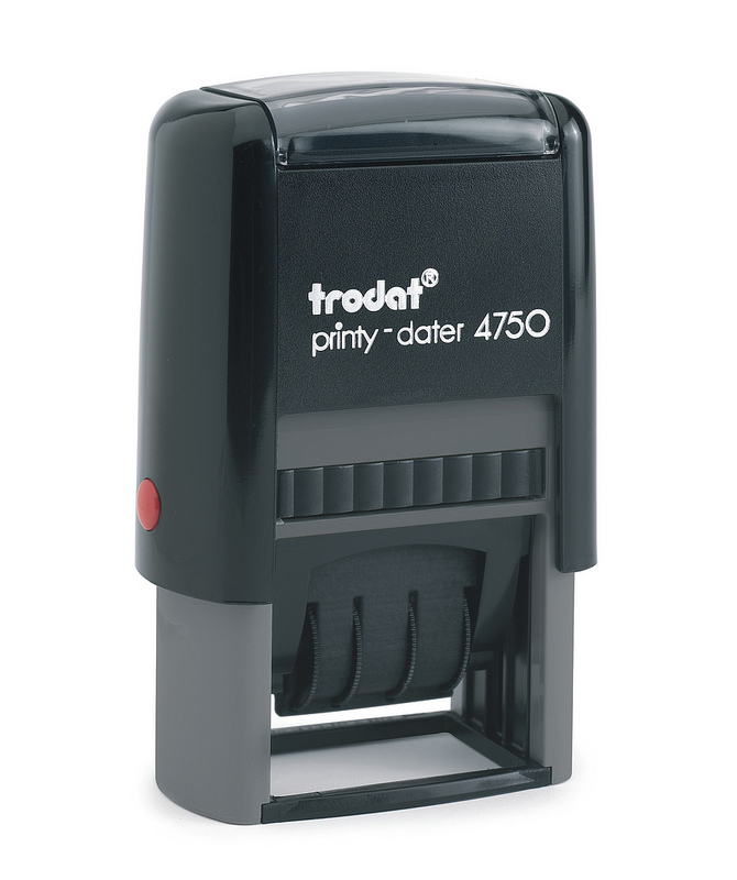 Trodat Printy Dater 4750/L2 Stamp (PAID=Blue DATE=Red)