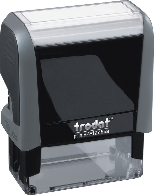 Trodat Office Printy Stamp Self-inking - Posted - 18x46mm Reinkable Red and Blue Ref 43342