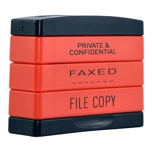 Trodat  3-in-1 Stampstack Secretary - Private & Confidential - Faxed - File
