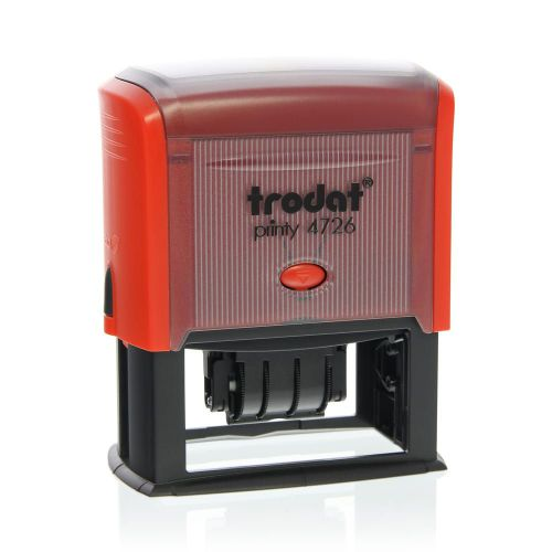 Trodat Printy 4726 Self Inking Custom Text And Date Stamp. Imprint Area 71 x 34 mm - 6 lines maximum - 3 above and 3 below date