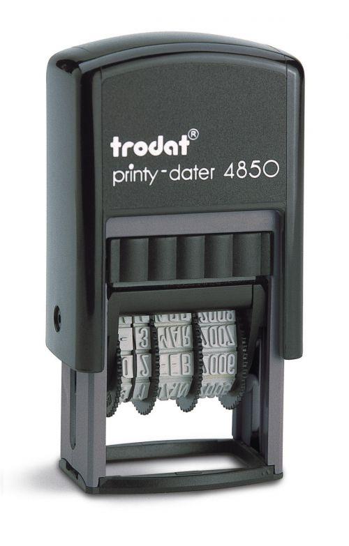 Trodat Printy 4850 Self Inking Custom Text And Date Stamp. Imprint Area 23 x 4 mm - 1 line maximum
