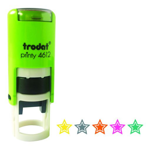 Set of 5 Trodat Printy 4612 Teachers Marking Stamper - Stars in Gold/Silver/Bronze/Pink/Green. 11 mm Dia
