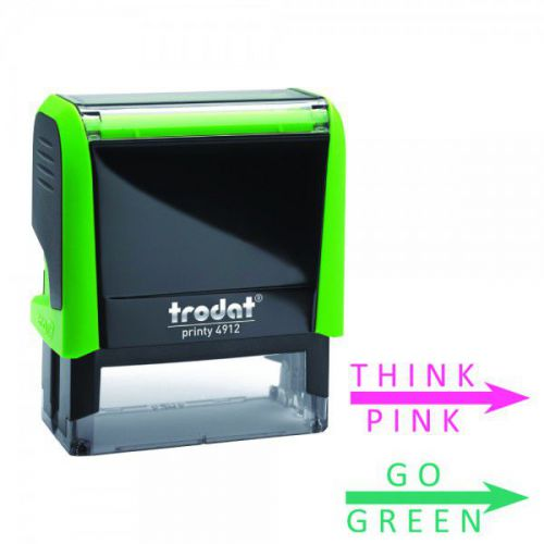 Set of 2 Teachers Printy 4912 Stamp for Marking - Think Pink & Go Green, Imprint Area 46 x 18 mm
