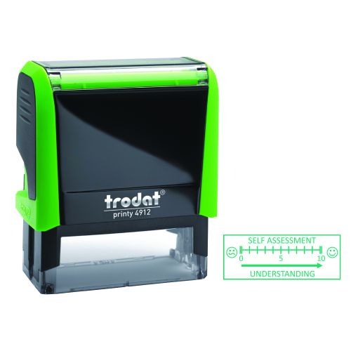 Trodat Printy 4912 Teachers Stamper Self Assessment - for the pupils to self assess their work, Imprint Area 45 x 17 mm - Green Ink