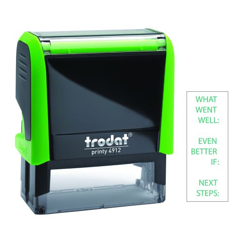 Trodat Printy 4912 Teachers Stamper for Marking - what went well/even better if/next steps, Imprint Area 45 x 17 mm - Green Ink