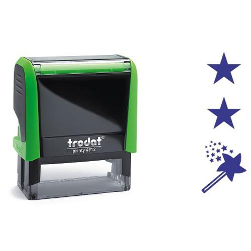Trodat Printy 4912 Teachers Stamper for Marking - 2 stars and a wish, Imprint Area 45 x 17 mm - Violet Ink