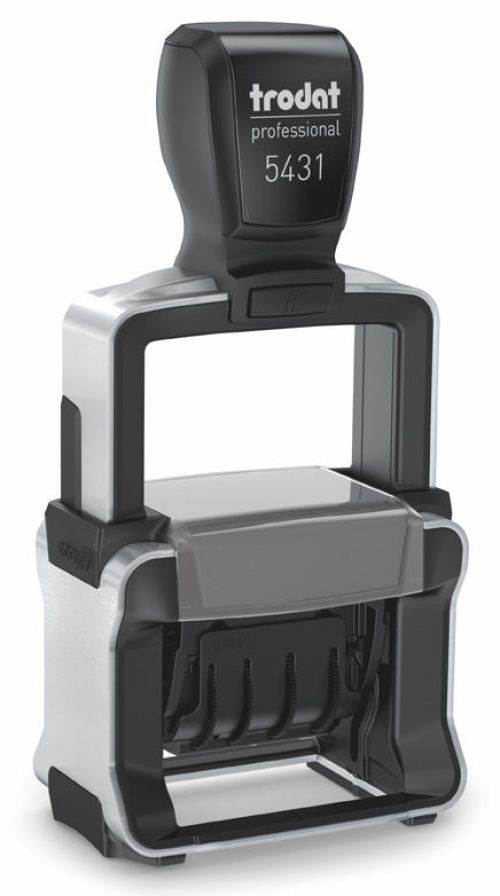 Trodat Professional 5431 Dater Self Inking Custom Stamp. Imprint Area 38 x 21 mm - 2 lines maximum - 1 above and 1 below the date - date size 3 mm