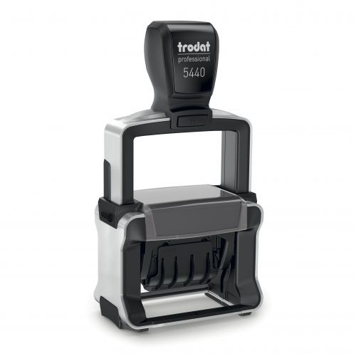 Trodat Professional 5431 Dater Self Inking Custom Stamp. Imprint Area 48 x 27 mm - 4 lines maximum - 2 above and 2 below the date - date size 4 mm