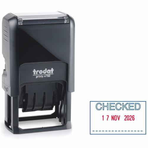 Trodat Printy Dater 4750L Self-inking Stamp (39 x 23mm) - This stamp carefully prints the word 'CHECKED' in red and blue ink, perfect for office use.