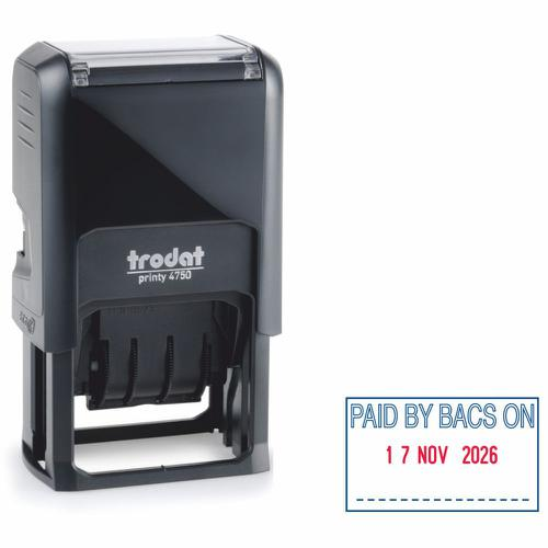 Trodat Printy Dater 4750L Self-inking Stamp (39 x 23mm) - This stamp prints the word 'PAID BY BACS ON' in red and blue ink, perfect for office use.