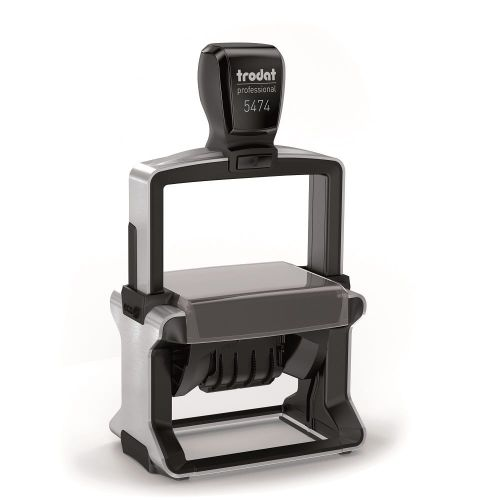 Trodat Professional 5474 Dater Self Inking Custom Stamp. Imprint Area 59 x 38 mm - 6 lines maximum - 3 above and 3 below the date