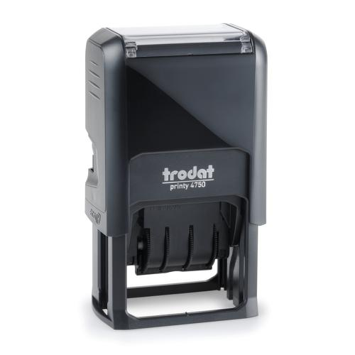 Trodat Printy 4750 Self Inking Custom Text And Date Stamp. Imprint Area 39 x 23 mm - 2 lines maximum - 1 above and 1 below date