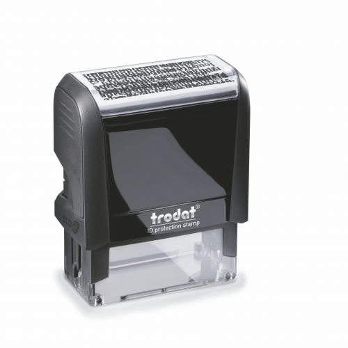 Trodat Identity Protection Self-inking Stamp will create a scrambled impression in black ink, ideal for concealing important information.