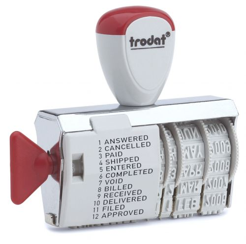 Trodat Classic Line 1117 Dial a Phrase Dater Stamp - Perfect for use in the office, this stamp features 12 common phrases alongside a 4mm Date.