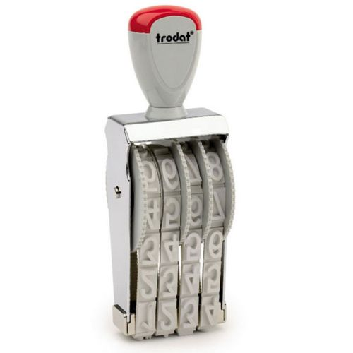 Trodat Classic Line 1574 Numberer - This stamp features 4 adjustable bands each with a character size of 7mm perfect for use at a large event.