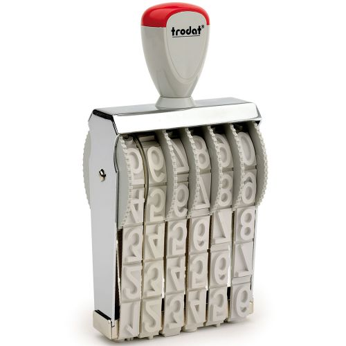 Trodat Classic Line 15186 Numberer - This stamp features 6 adjustable bands each with a character size of 18mm perfect for use at a large event.