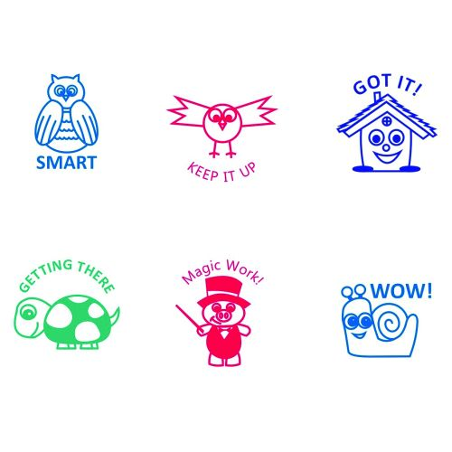 Trodat Classmates Teachers Stamps Set - Box B - This box features 6 key classroom phrases, perfect for motivating and rewarding pupils good work.
