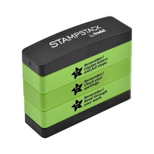 Trodat 3-in-1 Teachers' Stampstack - (Remember 2) - This stack features 3 popular classroom phrases making it a great educational tool.