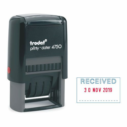 Trodat Printy Dater 4750/L1 Stamp (RECEIVED=Blue DATE= Red)