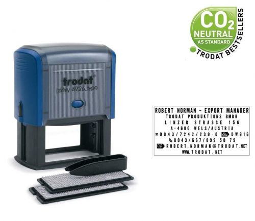 Trodat Printy Typo 4926  D.I.Y Self-inking Rubber Stamp - This stamp creates up to 8 lines of customised text, great for professional use.