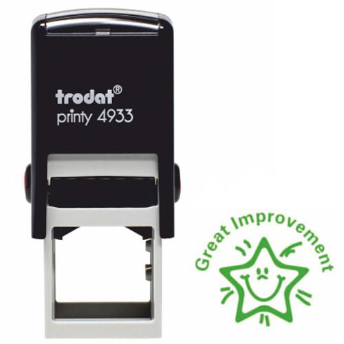 Trodat Classmates Education Stamp - Perfect for in the classroom, this self-inking stamp features the phrase 'GREAT IMPROVEMENT' and an image of a sta