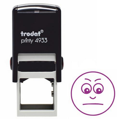 Trodat Classmates Education Stamp - Perfect for marking home or class work, this self-inking stamp features the image of a gloomy face.