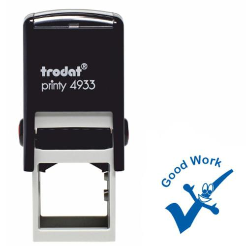 Trodat Classmates Education Stamp - Perfect for in the classroom, this self-inking stamp features the phrase 'GOOD WORK' alongside the image of a tick
