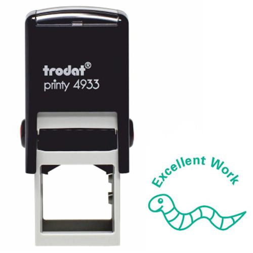 Trodat Classmates Education Stamp - Perfect for in the classroom, this self-inking stamp features the phrase 'EXCELLENT WORK' and the image of a worm.