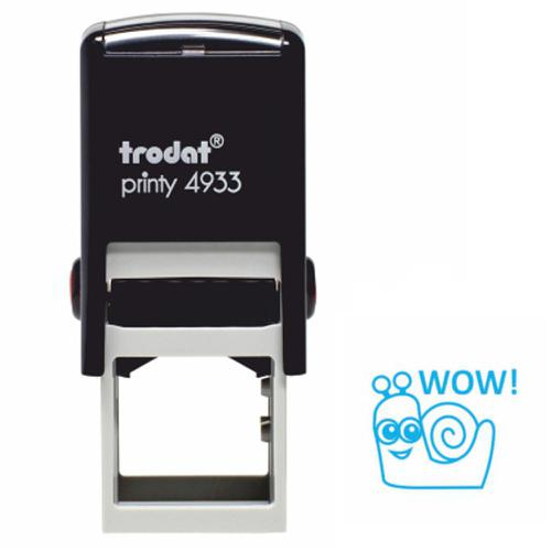 Trodat Classmates Education Stamp - Perfect for in the classroom, this self-inking stamp features the phrase 'WOW' alongside the image of a snail.