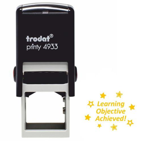 Trodat Classmates Education Stamp - Perfect for in the classroom, this self-inking stamp features the phrase 'LEARNING OBJECTIVE ACHIEVED'.