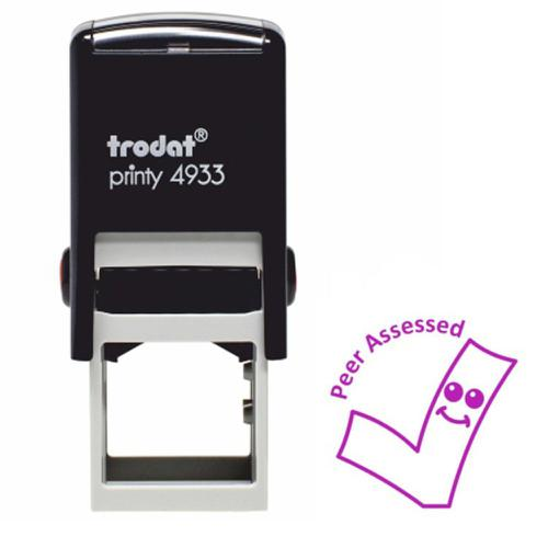 Trodat Classmates Education Stamp - Perfect for in the classroom, this self-inking stamp features the phrase 'PEER ASSESSED' and the image of a tick.