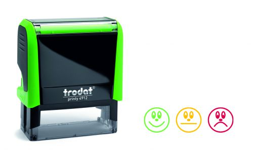 Trodat Classmate Printy 4912 Self-inking Education Stamp - Faces A. This stamp features 3 different emotions, perfect for use in the classroom.