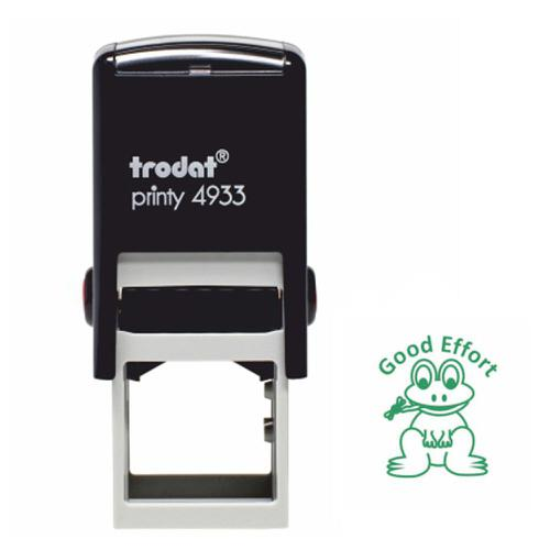 Trodat Classmates Education Stamp - For in the classroom, this self-inking stamp features the phrase 'GOOD EFFORT' and the image of a frog.