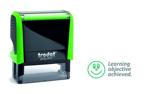 Trodat Classmate Printy 4912 Self-inking Stamp - Faces B. This stamp features the phrase 'Learning Objective Achieved', perfect for in the classroom.