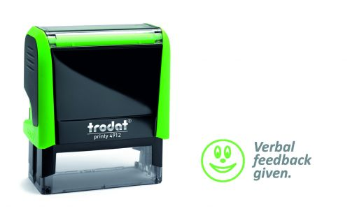 Trodat Classmate Printy 4912 Self-inking Stamp. This stamp features the phrase 'Verbal Feedback Given', perfect for in the classroom.
