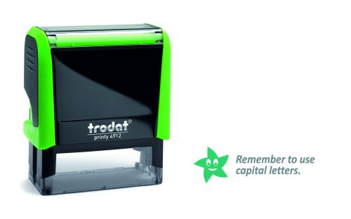 Trodat Classmate Printy 4912 Self-inking Stamp - Remember 1A features the phrase 'Remember to use capital letters', perfect for use in the classroom.