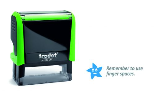 Trodat Classmate Printy 4912 Self-inking Stamp - Remember 1C features the phrase 'Remember to use finger spaces', perfect for use in the classroom.