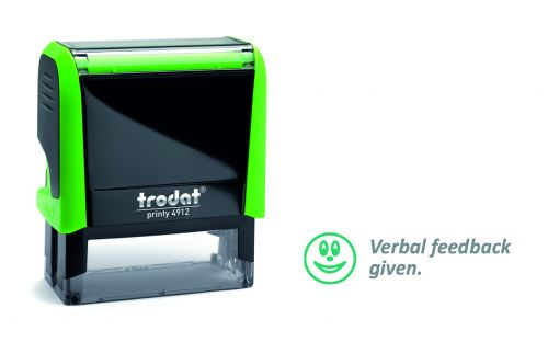 Trodat Classmate Printy 4912 Self-inking Stamp - Feedback B. This stamp features the phrase 'Verbal Feedback Given', perfect for in the classroom.
