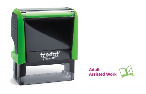 Trodat Classmate Printy 4912 Self-inking Stamp. This stamp features the phrase 'Adult Assisted Work', perfect for in the classroom.
