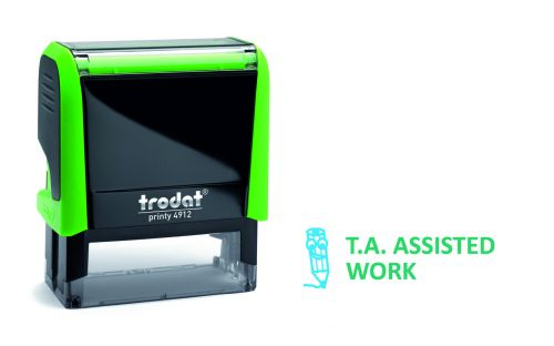 Trodat Classmate Printy 4912 Self-inking Stamp - Work Assess 1B. This stamp features the phrase 'T.A. Assisted Work', perfect for in the classroom.