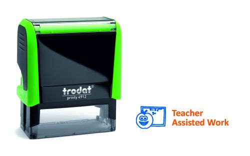 Trodat Classmate Printy 4912 Self-inking Stamp - Work Assess 2A. This stamp features the phrase 'Teacher Assisted Work', perfect for in the classroom.