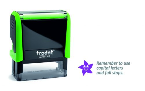 Trodat Classmate Printy 4912 Self-inking Stamp - Remember 2A. This stamp features the phrase 'Remember To Use Capital Letters and Full Stops'.