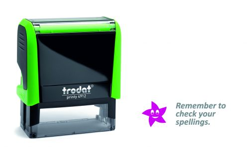 Trodat Classmate Printy 4912 Self-inking Stamp - Remember 2B. This stamp features the phrase 'Remember To Check Your Spellings'.