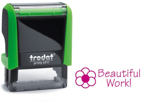Trodat Classmate Printy 4911 Self-inking Stamp. This stamp features the phrase 'Beautiful Work', perfect for in the classroom.