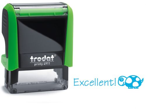 Trodat Classmate Printy 4911 Self-inking Stamp - Turtle. This stamp features the phrase 'Excellent!', perfect for use in the classroom.