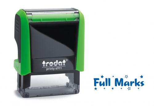 Trodat Classmate Printy 4911 Self-inking Stamp. This stamp features the phrase 'Full Marks', perfect for use in the classroom.
